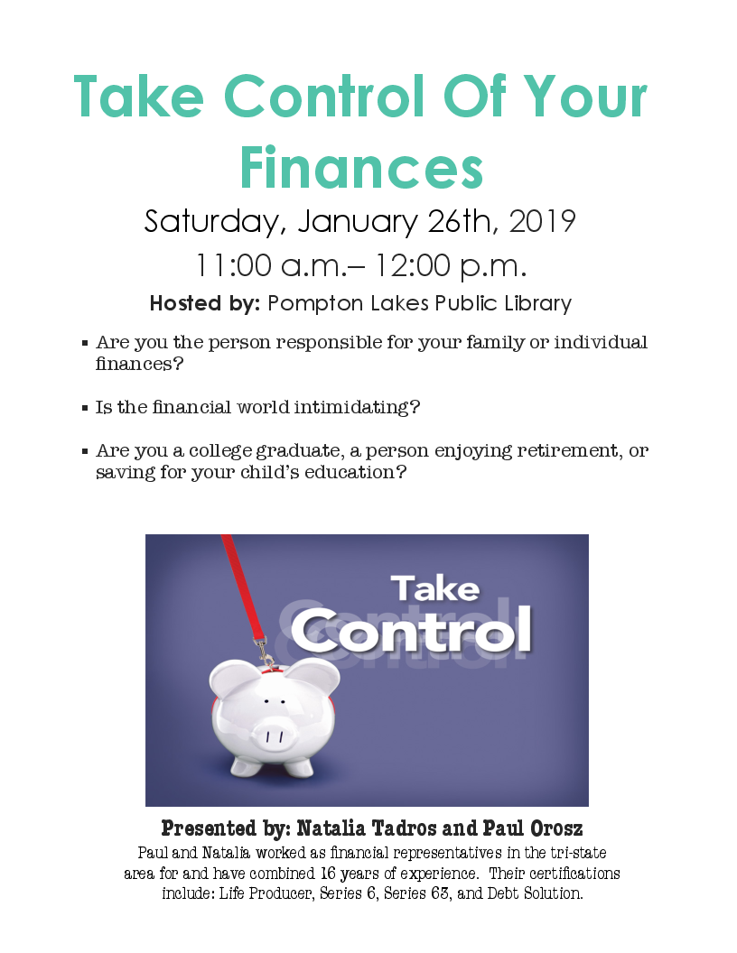 Take Control Of Your Finances - Saturday, January 26, 2019 - 11 a.m. - 12 p.m.