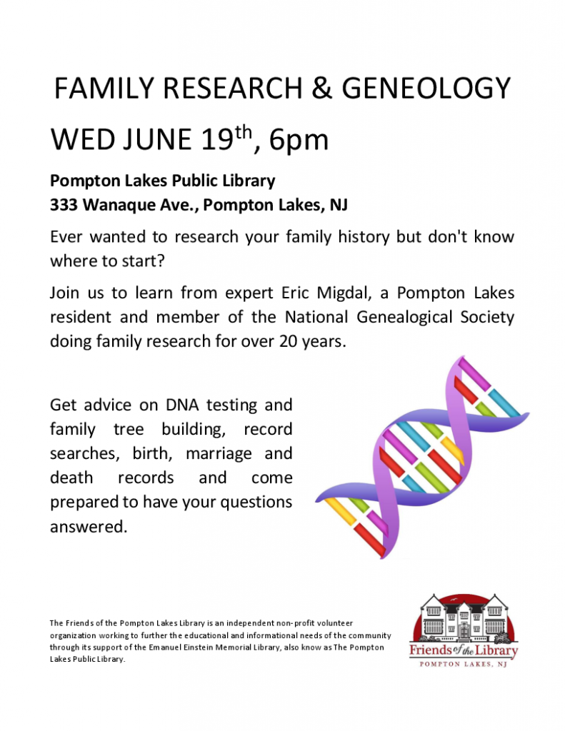 Genealogy Program - June 19 2019 - 6 p.m.