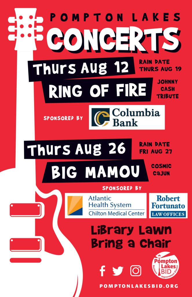 PL BID Summer Concerts - Ring of Fire - Thursday, August 12 & Big Mamou - Thursday, August 26 - 7 pm to 9 pm